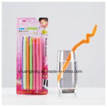 Paja flexible de plástico largo y silbido