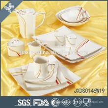 Venda quente 46 pcs forma quadrada Porcelana Jantar Set, linha de ouro decalque conjunto de jantar
