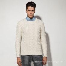 Acrylique en nylon à laine Alpaca Cable Knit Man Sweater