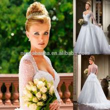 Nach Maß 2014 Schatz-bloße lange Hülse sehen durch rückseitiges Organza-Ballkleid-Hochzeits-Kleid-Kleid mit wulstiger Blume NB0808