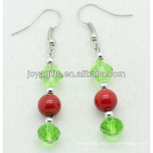 Green glass beads with natural red coral beads earring