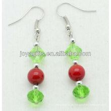 Verde, vidro, contas, natural, vermelho, coral, contas, brinco