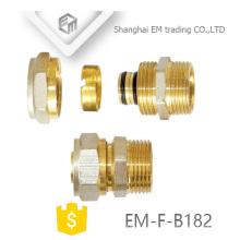 EM-F-B182 NPT macho rosca compressão latão adaptador de encaixe de tubulação