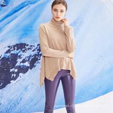 женщин высокой шеи асимметричный подол кашемир вязаный свитер