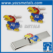 University of Kansas Jayhawks tie bars and cufflinks, custom made metal tie clip with design
