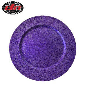 Purple Flower Plastic Plate With Metallic Finish