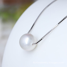 925 Silver Chain Women Natural Single Pearl Pendant Necklace