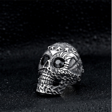 Cool Skull Black Diamond Ring para hombre