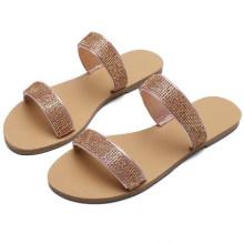 Wholesale Manufacture Large Size Summer Women Latest Design Rhinestone Slippers