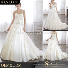 OEM manufacturers embroidered organza fabric white boned bodice lace wedding dresses