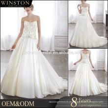 OEM fabricantes tecido de organza bordado branco desossados vestidos de casamento de renda de corpete