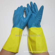 Bi-Color Neoprene Gloves Chemical Safety Latex Free Gloves Work Glove