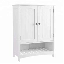 Mueble de baño independiente con estante ajustable, armario de cocina, entrada de madera, gabinete de almacenamiento, blanco