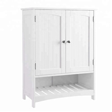 Armoire de toilette debout libre avec armoire de rangement en bois avec placard de cuisine à tablette réglable blanc