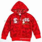 Red Baby Winter 100% Cotton Wholesale China Girl's Kitty Hooded Jacket