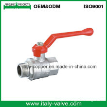 Válvula de bola macho del reductor de la garantía de calidad de 5 años en níquel (AV1026)