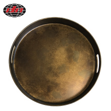 Round Antique Gold Plastic Tray With Handles