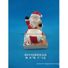 Hand-Painted Ceramic Santa Candleholder