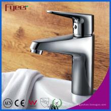 Fyeer Chrome Pulido Simple Manija y orificio Lavabo del baño Lavabo Grifo Mezclador de agua Grifo