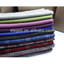 Men stripes pattern multicolor wool double sided scarf with fringe
