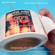 etiqueta engomada de la etiqueta del envase de la impresión del color de los pp con la laminación impermeable