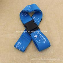 Fornecimento personalizado logotipo impresso azul bagagem cinta