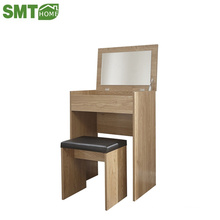 Wooden modern simple makeup dressing table with stool and mirror