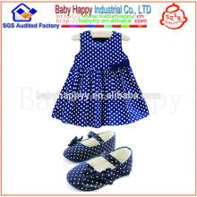 Caliente en el vestido de lujo del arco del punto de polca del bebé de las ventas el 100% cotton