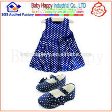 Hot on sales 100% cotton fancy baby polka dot bow dress
