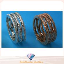 China Jóia da forma da venda inteira Anel da pedra da fila três Anel 925 Anel da jóia da prata esterlina R10498