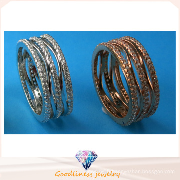 China Whole Sale Fashion Jewelry Three Row Stone Ring 925 Sterling Silver Jewelry Ring R10498