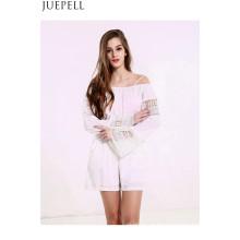 Us Mulheres Verão Strapless Lace Stitching Correias Hollow Branco Sólido Cor Long Sleeve Jumpsuit Piece Shorts
