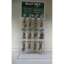 Simple 3-Tier 12 ganchos de alambre de metal clave llavero anillo de exhibición, stand de pantalla Keyholder Countertop