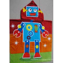 (BC-PB1015) Bonne qualité 100% coton imprimé poncho de plage pour enfants