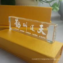 Qualité Accueil Décoration 3D Laser Crystal Paperweight