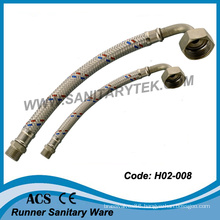 Stainless Steel Braided Flexible Hose, M/M Thread (elbow connector)