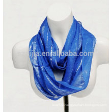 Fashion viscose metallic lurex infinity lady scarf