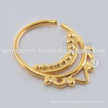Vente en gros de bijoux en or plaqué or Septum Nose Ring, fabriqués en Inde