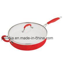 Ustensiles de cuisine Red Color Aluminium Céramique Revêtement Panneau à frire, Steak Pan, Cookware Set