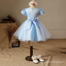 Xmas Bordado vestido de festa azul crianças roupas de alta qualidade flores de manga curta crianças meninas do bebê de alta classe vestido de natal