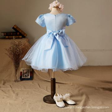 Xmas Brodé robe de soirée bleu enfants vêtements de haute qualité fleurs à manches courtes enfants bébé filles haute classe robe de noël