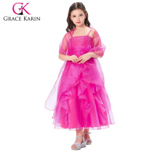 Grace Karin Spaghetti Straps Flower Girl Princess Deep pink Pageant Party Dress CL010406-2
