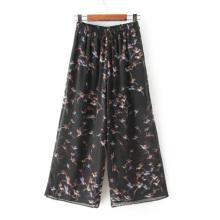 OEM de alta qualidade mais tamanho impresso calças largas mulheres perna