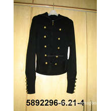 Knitted Sweater Coat with Metal Button and Zipper