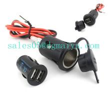 Encendedor del cigarrillo del vehículo del coche auto impermeable + Enchufe del enchufe del adaptador del cargador del USB