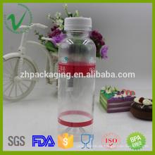 Tapón a prueba de golpes PET redondo vacío transparente botella de jugo de plástico de 330ml