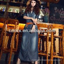 13CD1150 Women slim denim maxi dress 2013