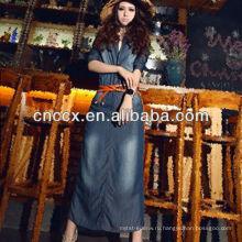 13CD1150 женщин тонкий деним платье макси 2013