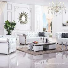 Sofá de canto de couro genuíno Europeia moderna sala de estar
