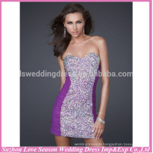 HC2100 New designs sweetheart neck with strapless sheath tight colored beaded sleeveless tight shiny sequin shorts prom dress
